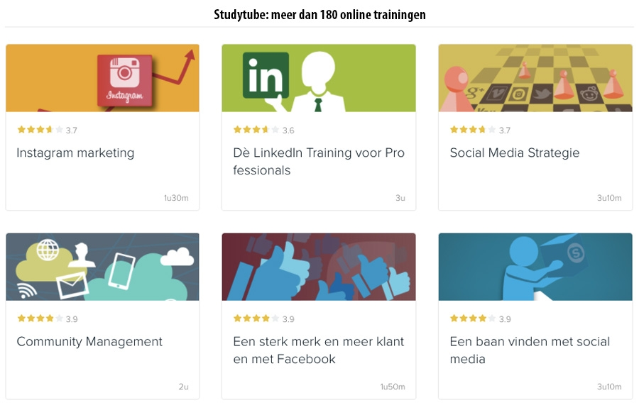 Studytube: meet dan 180 online trainingen
