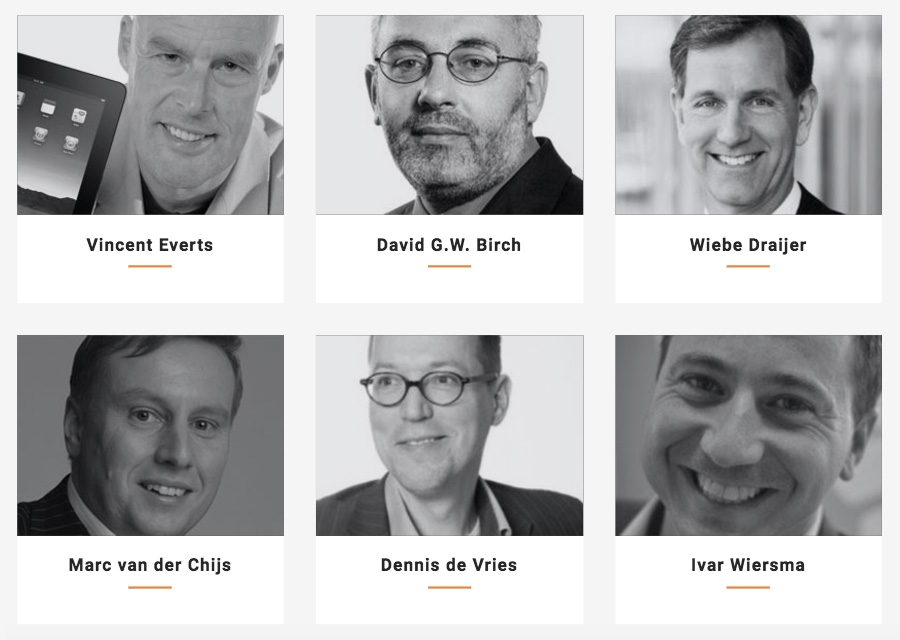 Vincent Events - David Birch (Consult Hyperion), Marc van der Chijs (Crosspacific Capital), Wiebe Draijer (Rabobank), Ivar Wiersma (ING) en Dennis de Vries (KPMG)