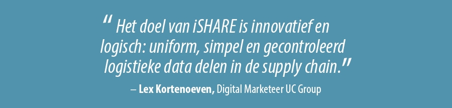 Het doel van iSHARE is innovatief en logisch- uniform, simpel en gecontroleerd logistieke data delen in de supplychain