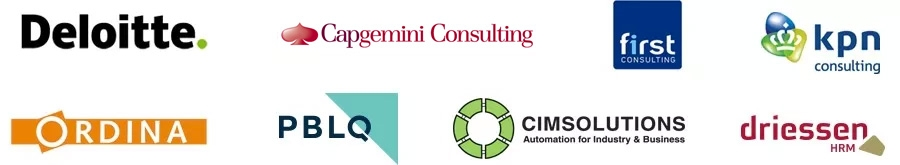 Deloitte, Capgemini, CGI, First Consulting, KPN Consulting, Ordina, PBLQ, CIMSolutions, Driessen HRM