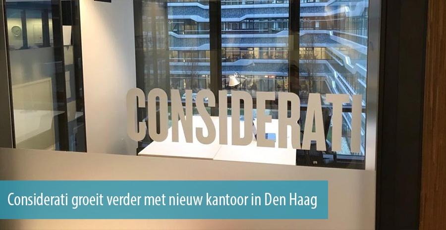 Kantoorinrichting Consultancy Bureau : Considerati groeit verder met nieuw kantoor in den haag