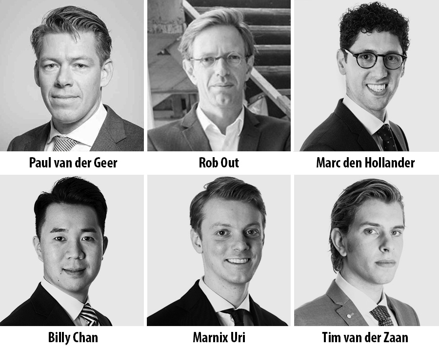 Paul van der Geer, Rob Out, Marc den Hollander, Billy Chan, Marnix Uri Tim van der Zaan