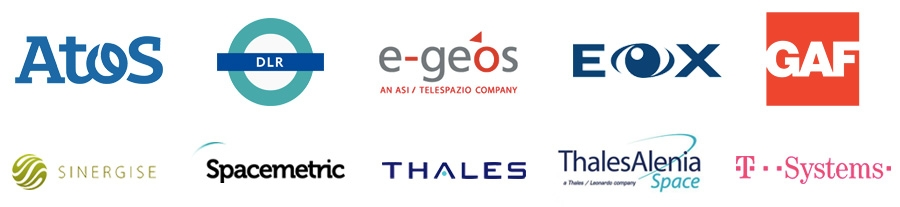 Atos, DLR, e-Geos, EOX, GAF, Sinergise, Spacemetric, Thales, Alenia Space en T-Systems