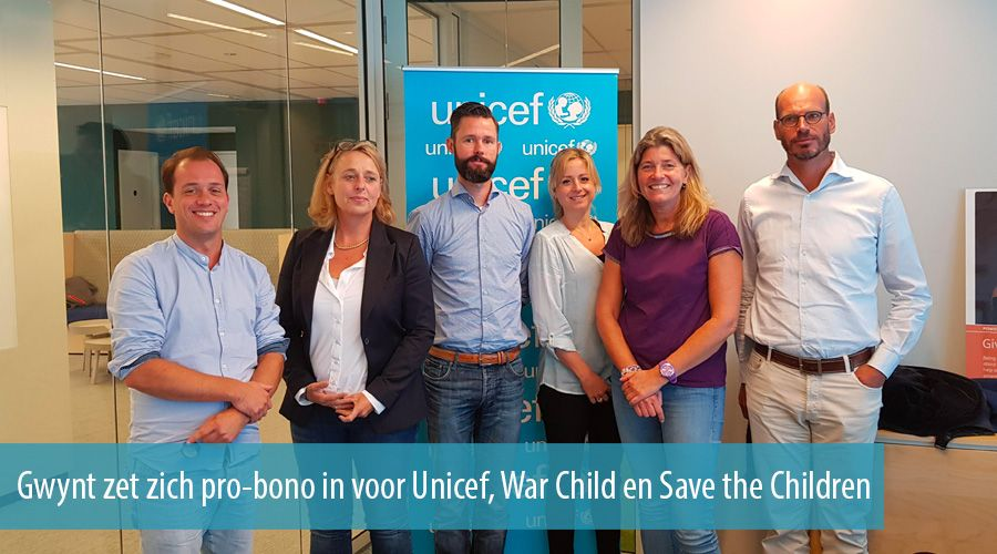 Gwynt zet zich pro-bono in voor Unicef, War Child en Save the Children