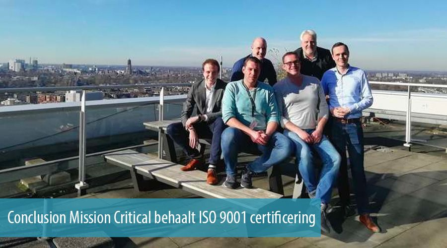 Conclusion Mission Critical behaalt ISO 9001 certificering
