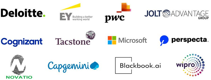Deloitte, EY, PwC, JOLT Advantage Group, Cognizant, Tactstone, Microsoft, Perspecta, Novatio, Capgemini, Blackbook.ai, Wipro