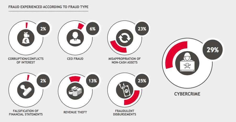 Fraud experienced according to fraud type