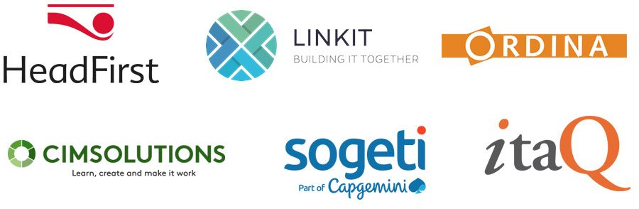 HeadFirst, Linkit, Ordina, Cimsolutions, Sogeti en Itaq.