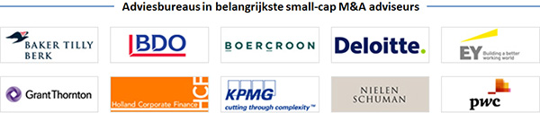 Baker Tilly Berk, BDO, Boercroon, Deloitte, EY, GrantThornton, Holland Corporate Finance, KPMG, Nielen Schuman, PWC
