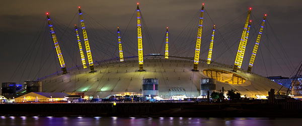 The night illumination of the Millennium Dome during the Olympic Games time in London