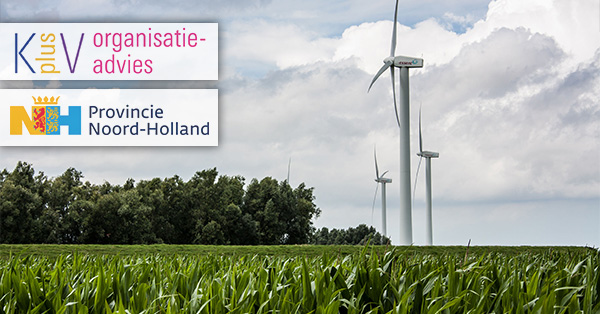 Three wind turbines in a corn field located in the netherlands - KPLUSV, Provincie Noord-Holland